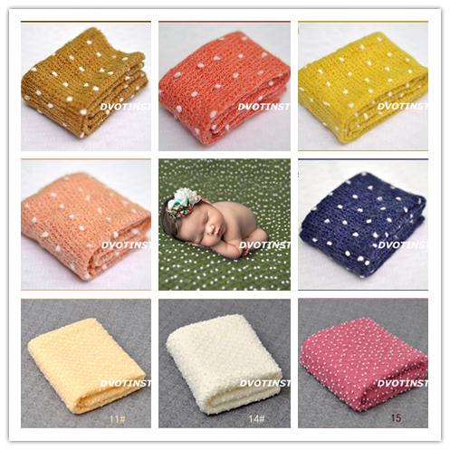 Dvotinst Crochet Knitted Soft Baby Wraps Photography Fotografia White Ball Background Blanket Infant Toddler Studio Props Q190521