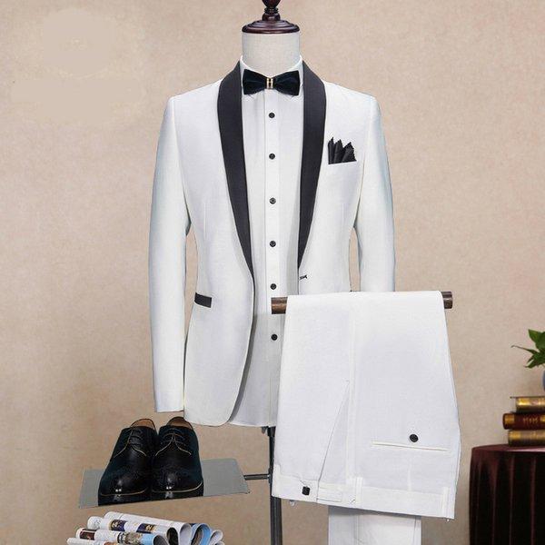 Beyaz Siyah Yaka Düğün Erkek Kostüm Homme Mariage Sigara Masculino Terno Masculino Slim Fit Ceket + pantolon
