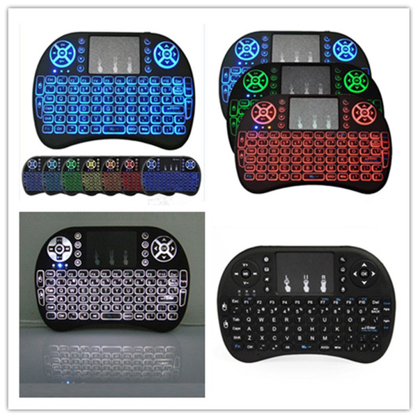 best selling Backlit I8 Mini Wireless Keyboard Backlight fly Air Mouse for Android Tv Box T9 T95Z plus h96 max mini MXQ pro
