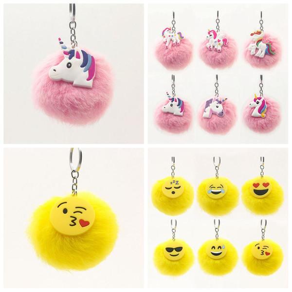 12 styles Fluffy Emoji Unicorn Keychain Cartoon Plush Key Ring Cell Phone Charms Handbag Purse Pendant Fur Ball Key Chain LJJ-A646