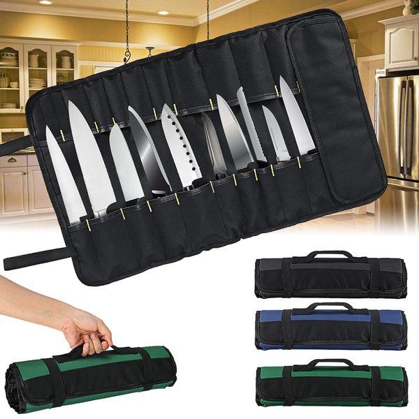 4 Couleurs Choix Chef Couteau Sac À Roulettes Sac De Transport Sac Cuisine Cuisson Portable Durable De Stockage 22 Poches Noir Bleu Vert