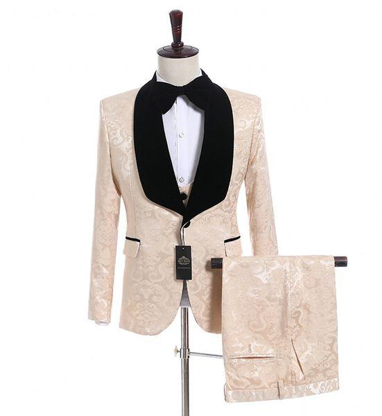Champagne Jacquard Groom Tuxedos Black Velvet Lapel Side Vent Men Wedding Tuxedos Excellent Men 3 Piece Suit Blazer(Jacket+Pants+Tie+Vest)48