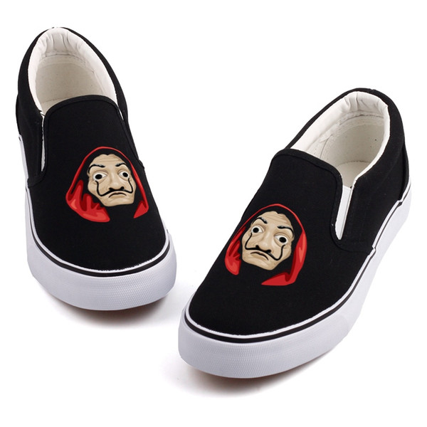 Cool Halloween Mask Printed Loafers Shoe Graffiti House Paper Cosplay La Casa De Papel Movie Star Canvas Shoes Customize Slip On #268469