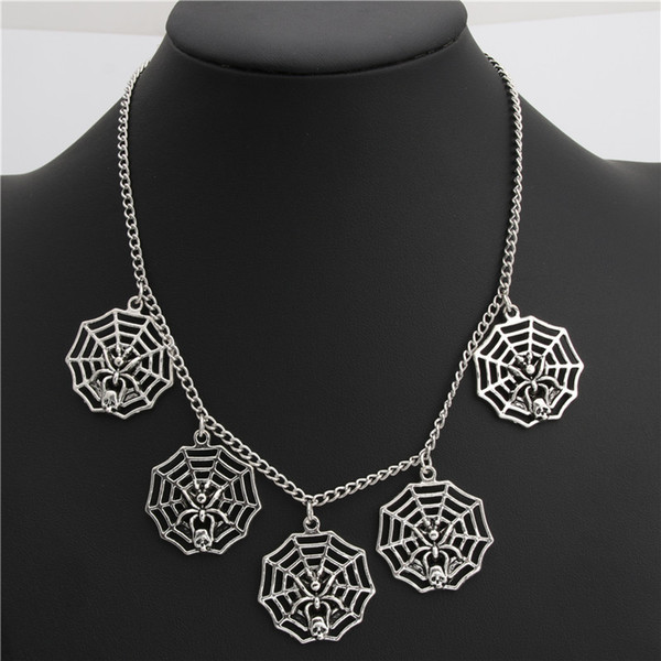 1pc Silver Spider Web Charms Pendant Short Chain Necklace Halloween Choker For Women Handmade Jewelry