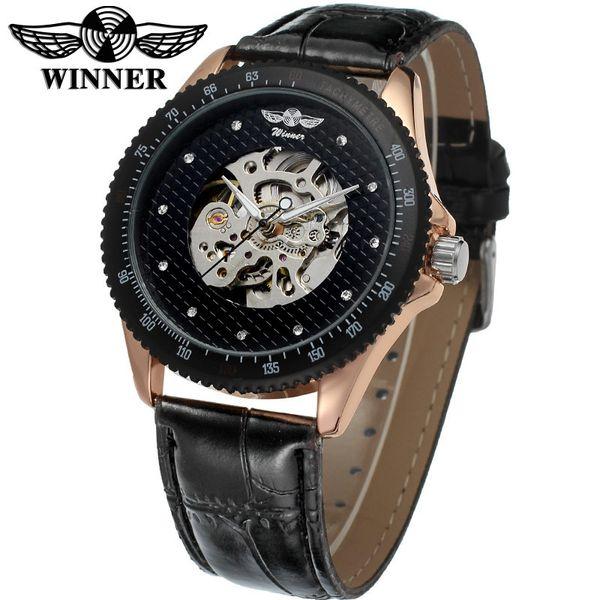 Heat Pin WINNER Name Surface Man Fashion Leisure Time Hollow Out Fully Automatic Mechanics Wrist Watch watches luxury brand Free shipping