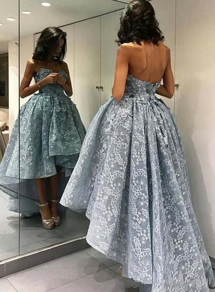 2017 New Arrival Light Blue Lace Short Evening Dress Sexy Sweetheart Appliques High/Low Evening Party Gowns Formal Robe De Soire