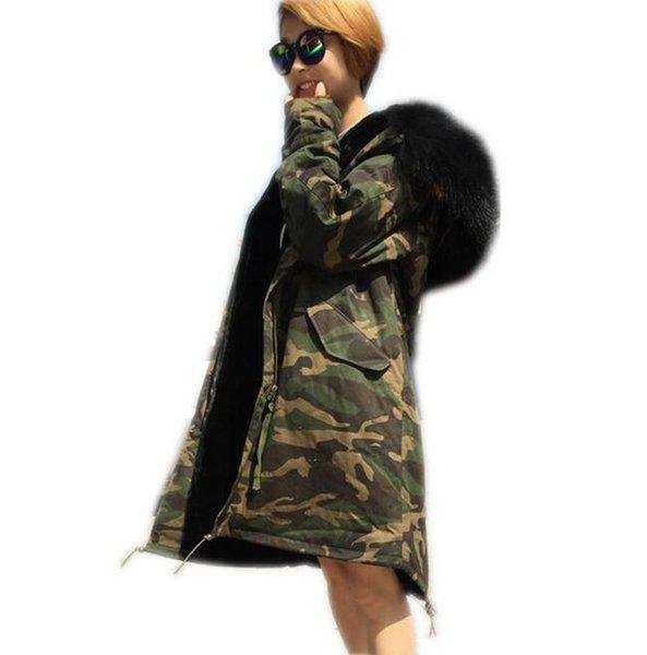 Lavish black raccoon fur trim Meifeng brand women snow coat black rabbit fur lined Camouflage shell long parka