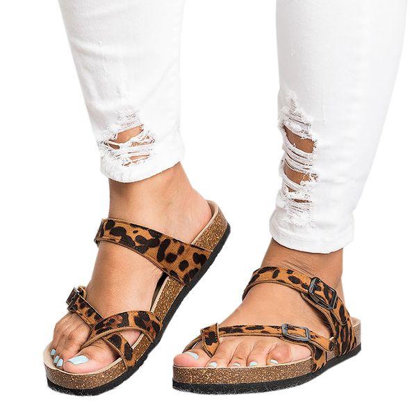Summer Women Sandalias 2019 Fashion Leopard Flat Sandals Beachslippers Flip Flops Sandalia Feminina Plus Size 35-44