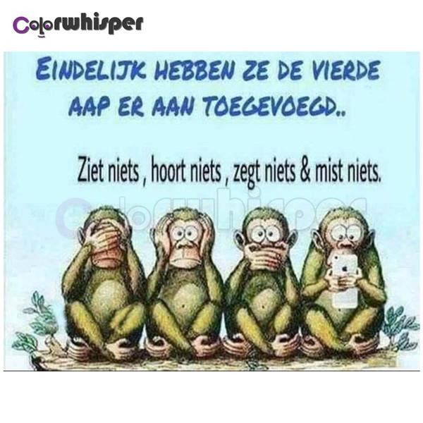 Satin Al Elmas Boyama Tam Kare Yuvarlak Matkap Karikatur Maymun