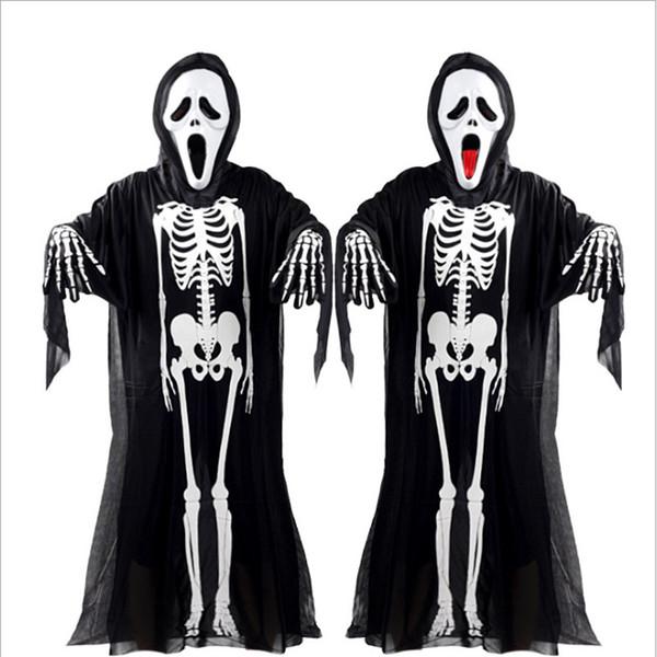 2017 Nuevo traje de esqueleto Cosplay de Halloween caliente Unisex Traje de patrón de esqueleto humano Disfraz de Halloween Scare Performance Wear Wear Mask Suit Adultos