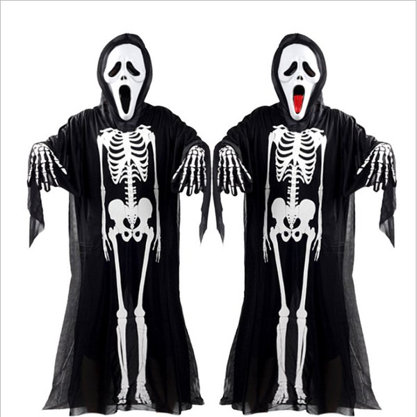 2017 New Hot Halloween Cosplay Esqueleto Unisex Terno Esqueleto Humano Traje Padrão de Halloween Scare Performance Roupas Desgaste Máscara Terno Adultos