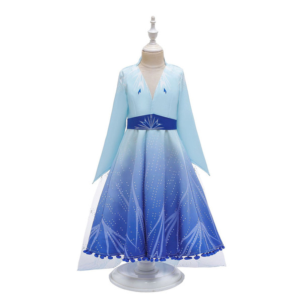 best selling Kids Girls Princess Dress Lace Tassels Cosplay Costume Kids Prom Clothes Ice Queen Halloween Party Stage Performance Winter Suits 06