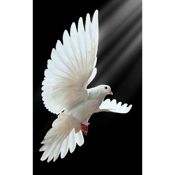 Satın Al Uçan Beyaz Güvercin 5d Diy Elmas Boyama çapraz Dikiş Diy