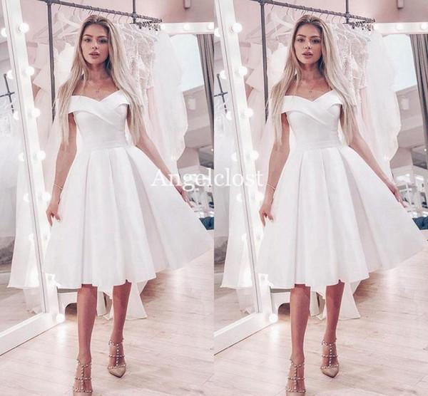 Compre Sencillos Vestidos De Novia Cortos 2019 Fuera Del Hombro Hasta La Rodilla Moderno Barato Nupcial Vestidos De Novia Vestido De Novia