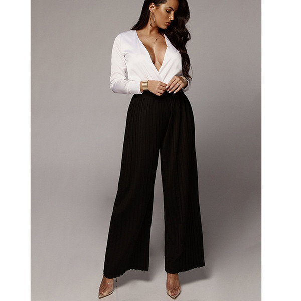 Women Casual Chiffon Wide Legs Pleated Elastic High Waist Fashion Long Trouser Lady Street Loose Pant Light Blue Beige Black
