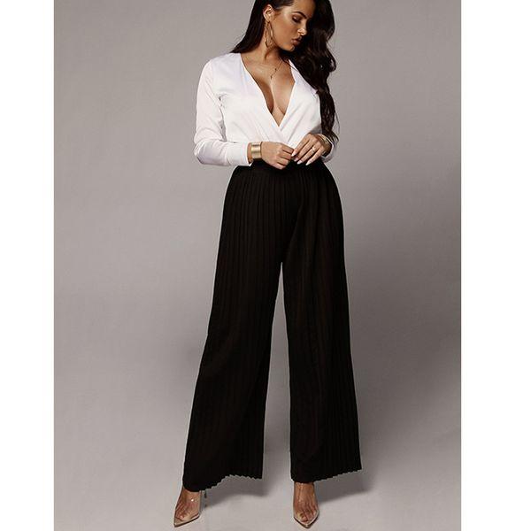 Kadınlar Casual Şifon Geniş Bacaklar Pileli Elastik Yüksek Bel Moda Uzun Pantolon Lady Sokak Gevşek Pantolon Açık Mavi Bej Siyah