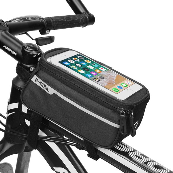 B-SOUL 1.5L/ 6.0 Inch Waterproof Touch Screen Bicycle Bags Cycling Bike Front Frame Bag Tube Pouch Mobile Phone Storage Bag