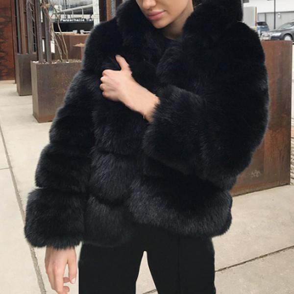 Mulheres de inverno Casacos De Pele Do Falso Chic Jaquetas de Pele De Coelho Outerwear Mulheres Fino Engrosse Quente Senhoras Casaco Plus Size 5XL