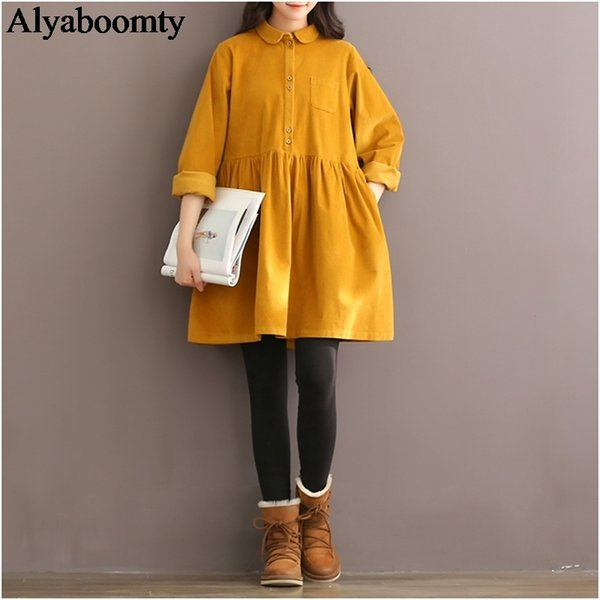 Mori Girl Autumn Winter Women Mini Dress Peter Pan Collar Casual Loose Corduroy Dress Elegant Cute Kawaii Sweet All-match Dress MX190727