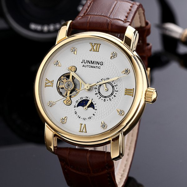 Fashion Diamonds White Dial Men's Wrist Watch Casual Brown Leather Strap Waterproof Automatic Mechanical Men's Watches men gift