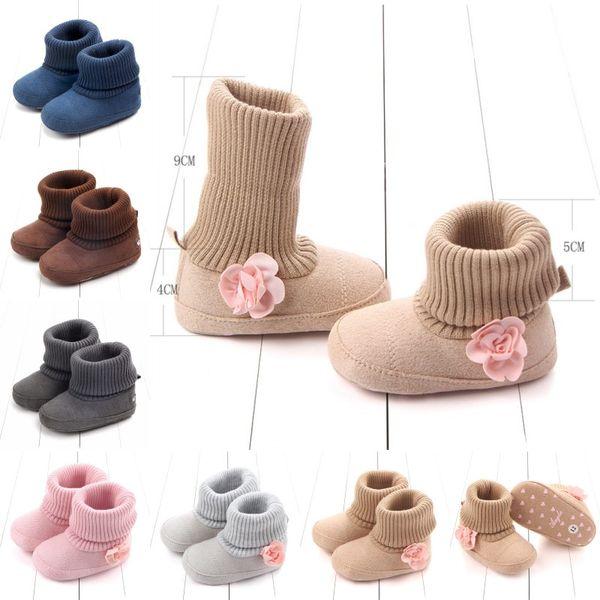 Infant Stiefel Socken Kleinkind Winter Home Socken Baby Rosa Blumen Warm Booties Baby-Jungen-Mädchen-Designer-Schuhe
