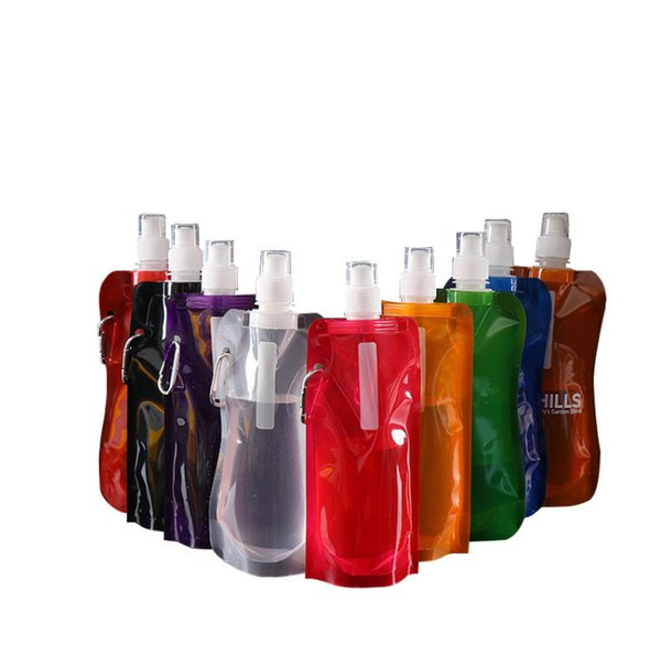 The latest 480ML spot folding water bag outdoor sports portable pe green water bottle hiking riding plastic water cup plus printed logo