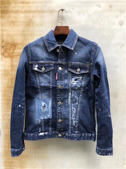 Nueva chaqueta de mezclilla de marca de diseñador, chaqueta lavada d2, chaqueta de hombre cosida a mano, moda casual simple para hombres salvajes, ocio d2 denim