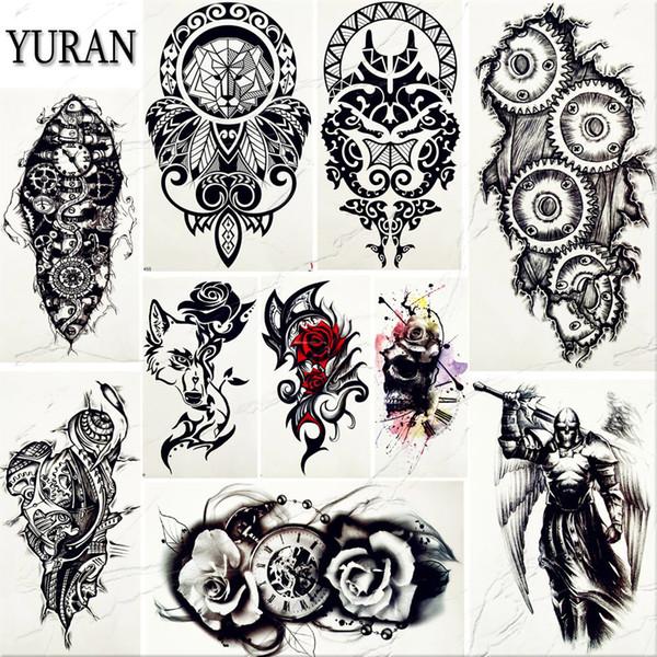 4cc04ad14ff6c Waterproof Black Totem Men Art Tattoo Stickers Women Henna Arm Totem Tattoos  Temporary Gear Arm Chest Warrior Fake Tatoos Flora