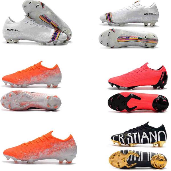 2018 Yeni Erkek Mercurial Superfly VI 360 Elite Ronaldo FG CR Futbol Ayakkabı Dünya Kupası Fury VII Futbol Boots Yüksek Bilek Futbol Cleat
