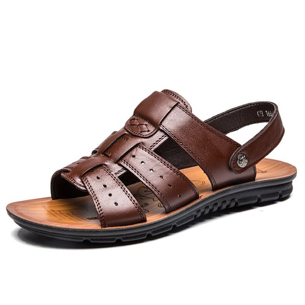Fashion Summer Men Beach Sandals Genuine Leather High quality Male Shoes Rubber Buckle Retro Causal Men's Sandals Big size 38-47