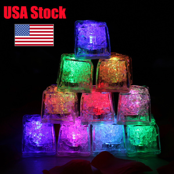 top popular Mini LED Party Lights Square Color Changing LED ice cubes Glowing Ice Cubes Blinking Flashing Novelty Party Supply bulb AG3 Battery 2020