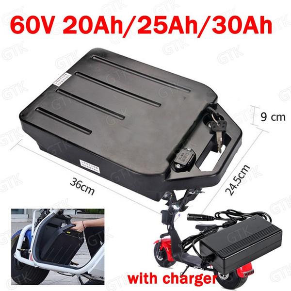 GTK a prueba de agua 60V 30Ah Batería de iones de litio 60v 20Ah 25Ah para 2000W scooter eléctrico citycoco plegable de dos ruedas + cargador 3A