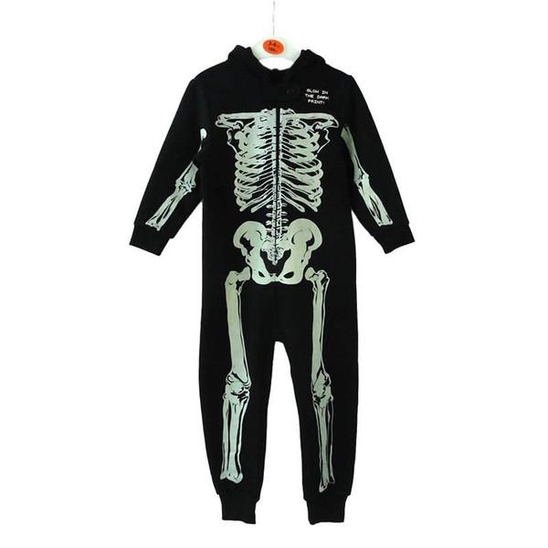 Ins Halloween Kids Комбинезон Noctilucence черепа мальчиков ползунки балахон мальчиков комбинезон One Piece Одежда мальчиков дизайнер одежды розничной A8313
