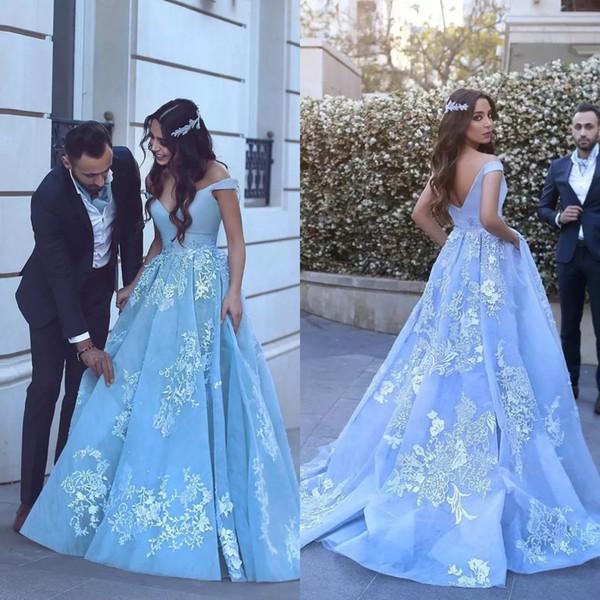 Pocket Design Lace Applique Ball Gown Prom Dresses 2019 Modest Dubai Arabic Off-shoulder Luxury Train Princess Occasion Evening Gowns