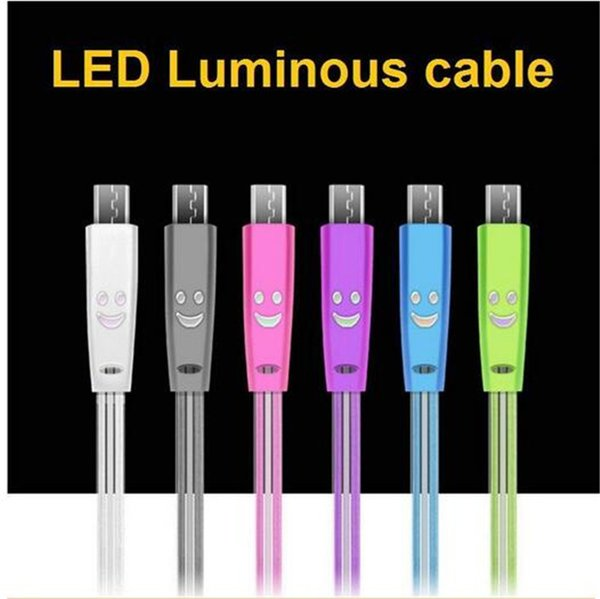 For Samsung Android cell phone I5 I6 I7 1M/3FT Visible Luminous LED Light up Micro USB charging data sync cable rapid charging flash cord
