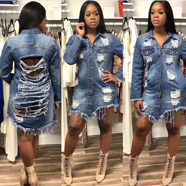 Neue Muster Pullover lange Jacke Mantel Jacken warme Frauen Mäntel Herbstmode zerrissene Jeans-Tops für Damenbekleidung