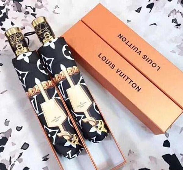 top popular HOT SALE Letter Umbrella Women Men Classic Prited Camellia Umbrella 3 Fold LOGO Umbrella Windproof with gift Box 2019