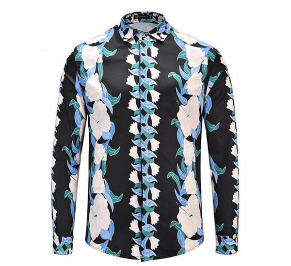 Men's new Korean version of boutique special European and American personality spring and autumn vines plant flowers 3D printing shirt M-2xl