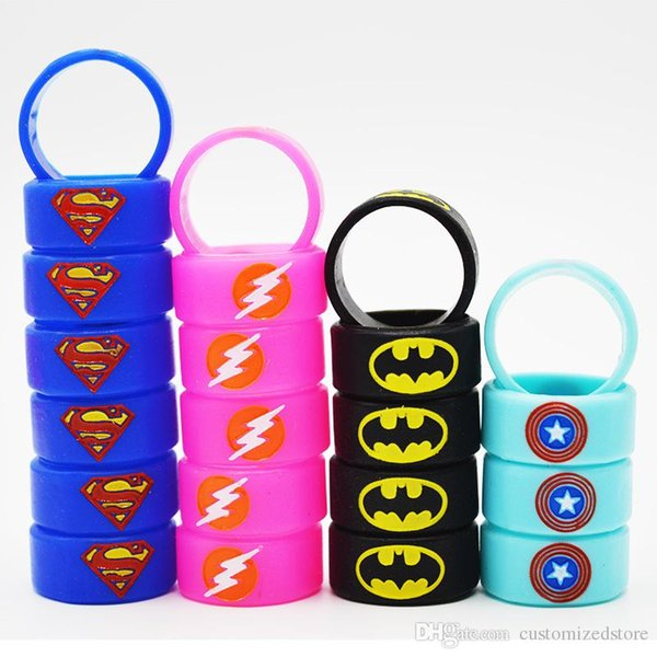 Custom Rubber Silicone Vape Band Engraved with Superman Flash Captain America Batman Logo Colorful Rings 22mm Diameter for Tank Atomizer