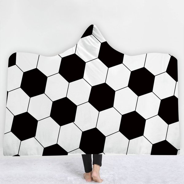 Pleasant Football Pattern Blanket Keep Warm Soft Comfortable Sofa Blanket With Hat Black White Simple Style Sell Well Gray And White Throw Blanket Price Of Gmtry Best Dining Table And Chair Ideas Images Gmtryco