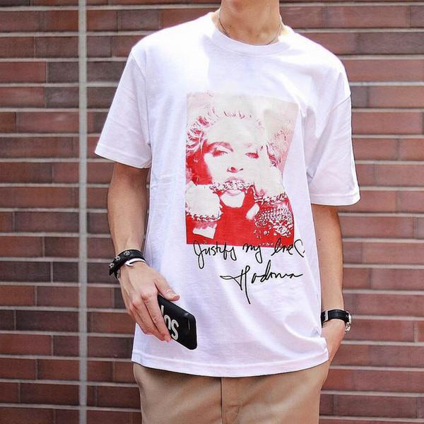 Europe Fashion High Quality Summer Box logo MADONNA Photo Skateboard Top Mens designer t shirts Women Street Luxury Casual T-shirt