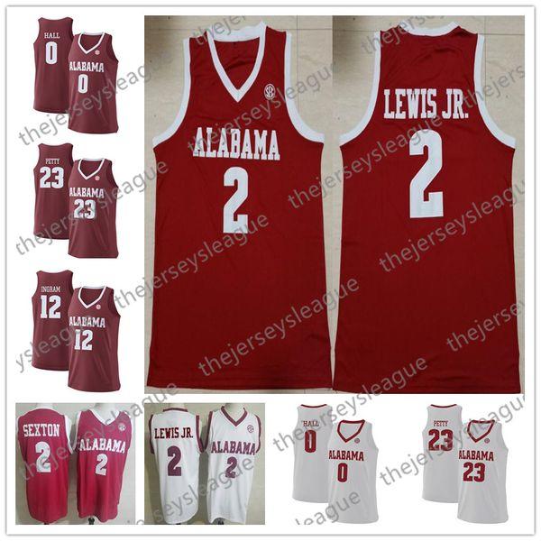 Alabama Crimson Tide # 0 Donta Salão 2 Kira Lewis Jr. 30 Galin Smith Vermelho Branco Costurado NCAA College Basketball Jerseys S-4XL