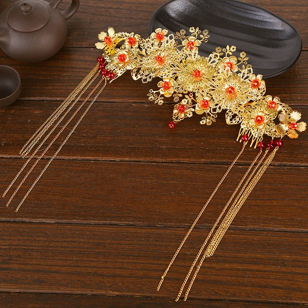 A piece Chinese traditional women fashion gold queen hair vintage jewelry bride wedding hairpin flower festival gift