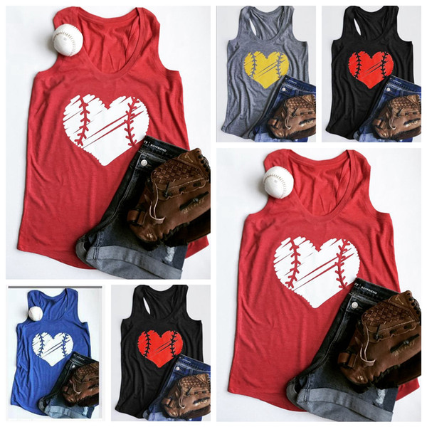 Baseball Heart O-Neck Tank Summer Tank Top Tees Casual Female Sleeveless Vest Couple Softball T-Shirt Blouse Tee OOA6618