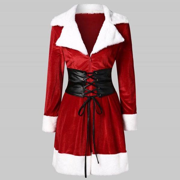 KLV 2019 TOP Women Santa Coat Christmas Faux Fur Jacket Velvet Coat With Belt 11.20