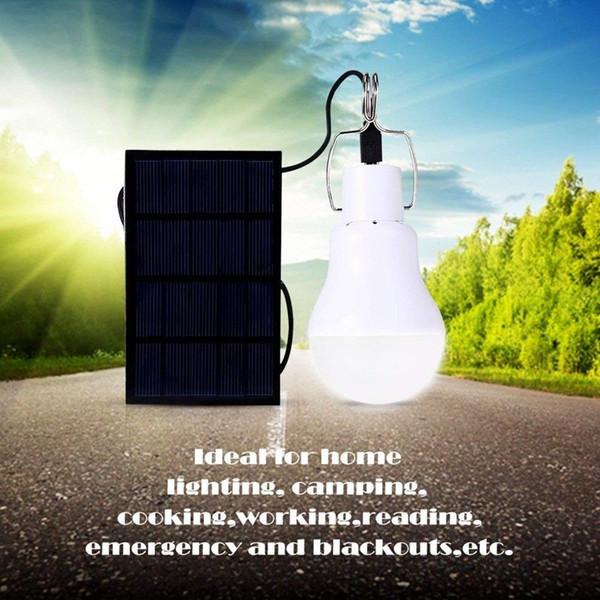 LED Solaire Lumière Énergie Énergie Solaire Lamba Lampe De Jardin Intérieur Panneau Étanche Urgence En Plastique Ampoule Crochet Tente Lanterne Extérieure