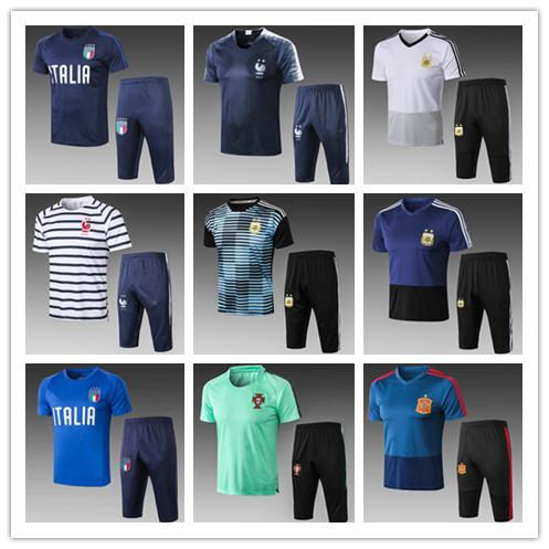 Top quality 2018 Fr MBAPP POGBA short sleeve 3/4 pants tracksuit 18 19 Spain Argentina MESSI Brazil Italy chandal futbol soccer Tracksuit