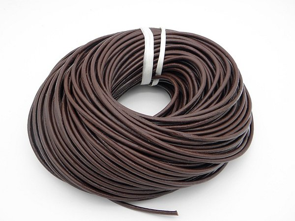 Venta caliente retro genuino cordón de cuero redondo accesorios de bricolaje para la joyería de cuero marrón negro mejor precio 1.5mm 2.0mm 3.0mm 4.0mm