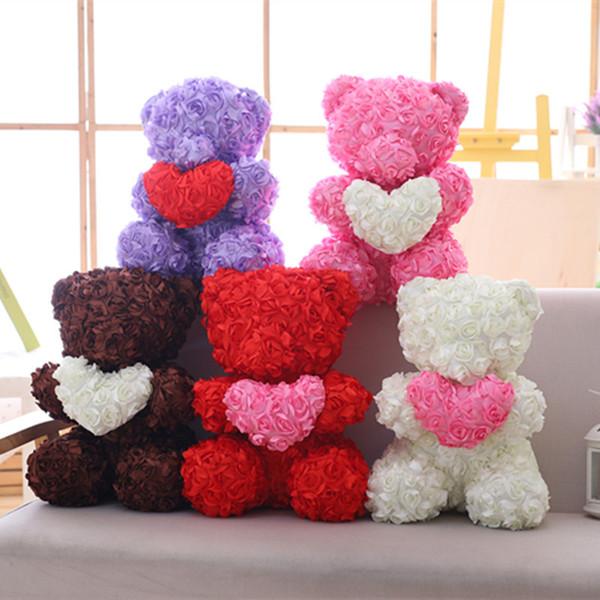 Flores artificiais Subiu Urso Multicolor Espuma De Plástico Rosa Urso de Pelúcia Namorada Presente Do Dia Dos Namorados Decoração de Festa de Aniversário