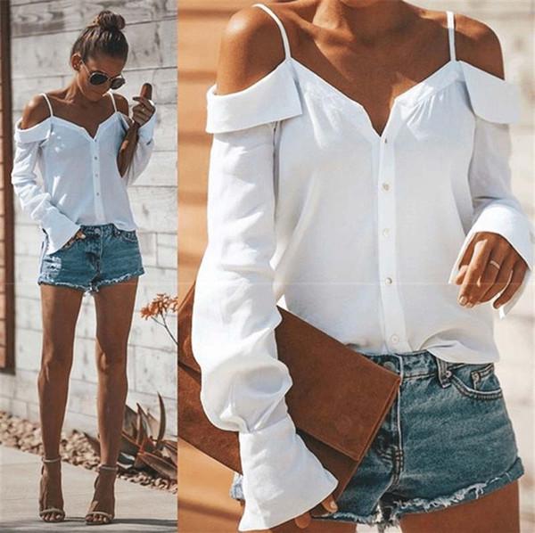 Cuello En V Deben Correas Camisa Tops Negro Blanco de manga larga fuera del hombro Camisetas Diseñador de moda Ropa de mujer Drop Ship 220075